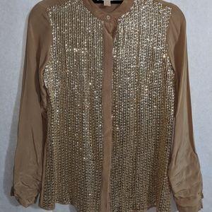 Michael Kors gold SPARKLE silk blouse Sz XS